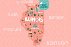 Illustrated Map Of Illinois Sticker