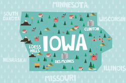 Illustrated Map Of Iowa Sticker