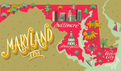 Illustrated Map Of Maryland Sticker