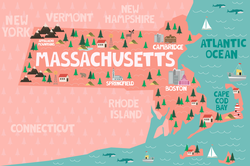 Illustrated Map Of Massachusetts Sticker