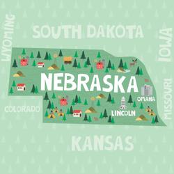 Illustrated Map Of Nebraska Sticker