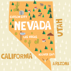 Illustrated Map Of Nevada Sticker