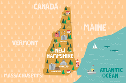 Illustrated Map Of New Hampshire Sticker