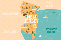 Illustrated Map Of New Jersey Sticker
