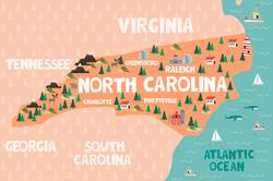 Illustrated Map Of North Carolina Sticker
