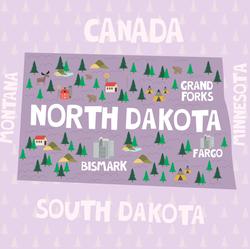 Illustrated Map Of North Dakota Sticker