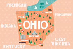 Illustrated Map Of Ohio Sticker