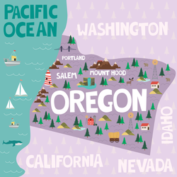 Illustrated Map Of Oregon Sticker