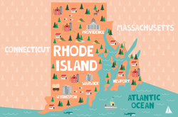 Illustrated Map Of Rhode Island Sticker