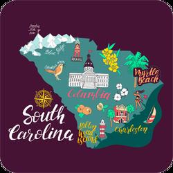 Illustrated Map Of South Carolina Sticker