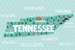 Illustrated Map Of Tennessee Sticker