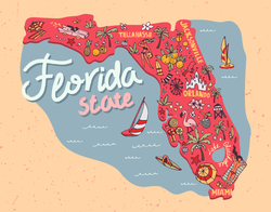 Illustrated Map Of The State Of Florida Sticker