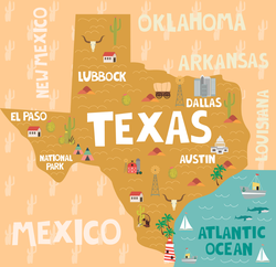 Illustrated Map Of The State Of Texas Sticker