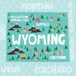 Illustrated Map Of Wyoming Sticker