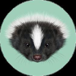 Illustrated Portrait Of Skunk Green Background Sticker