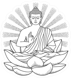 Illustrated Sitting Buddha On Lotus With Sunburst Sticker