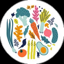 Illustrated Vegetables Sticker