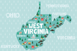 Illustrated West Virginia Map Sticker