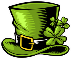Illustrated Woodcut Leprechaun Hat Sticker