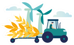 Illustration, A Process Of Harvesting Crops On A Tractor Sticker