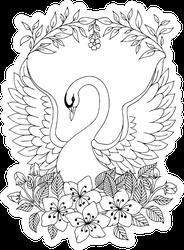 Illustration Beautiful Swan Coloring Book Sticker