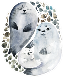 Illustration Cute Fur Seals In A Watercolor Style Sticker