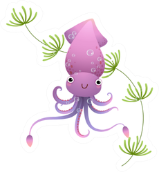 Illustration Cute Purple Cartoon Squid Underwater Sticker
