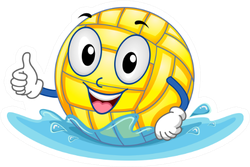 Illustration Featuring A Water Polo Ball Giving A Thumbs Up Sticker