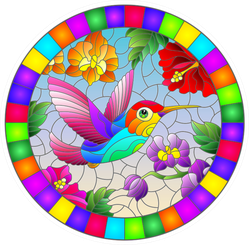 Illustration In Stained Glass Style Hummingbird Sticker