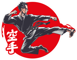 Illustration Is A Hieroglyphs Of Karate (japanese) Sticker