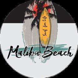 Illustration Malibu Beach Ocean Wave Surfing Sticker