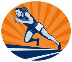 Illustration Marathon Runner On Track Sticker