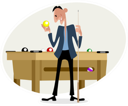Illustration Of A Billiard Player With Cue Sticker