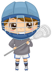 Illustration Of A Boy Dressed In Lacrosse Gear Sticker
