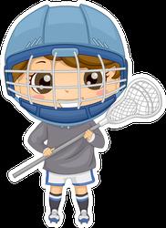 Illustration Of A Boy Dressed In Lacrosse Gear Sticker