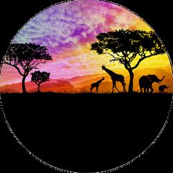 Illustration Of A Bright Sunset In Africa, Giraffes Sticker