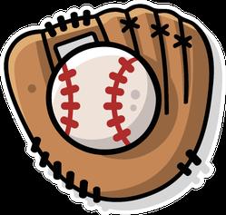 Illustration Of A Cartoon Retro Baseball Mitt Sticker