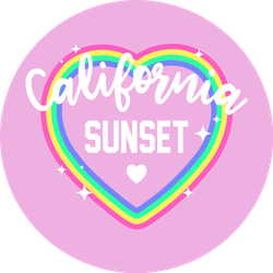 Illustration Of A Colorful Heart California Sunset Sticker