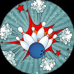 Illustration Of A Comic Bowling Ball Strike Sticker