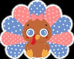 Illustration Of A Cute Cartoon Baby Turkey Girl Sticker