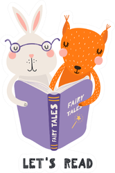 Illustration Of A Cute Funny Bunny And Squirrel Reading A Book Sticker