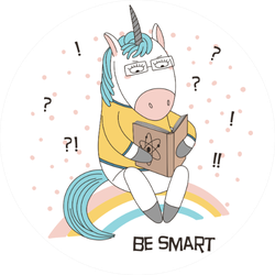 Illustration Of A Cute Funny Cartoon Unicorn With Book Sticker