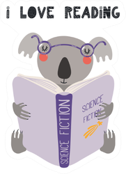 Illustration Of A Cute Funny Koala Reading A Book Sticker