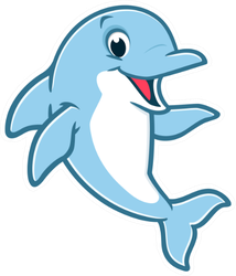 Illustration Of A Cute Happy Dolphin Sticker