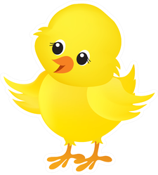 Illustration Of A Cute Little Yellow Easter Chick Sticker