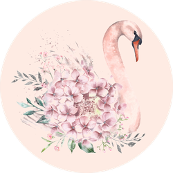Illustration Of A Cute Pink Swan With Flowers Sticker