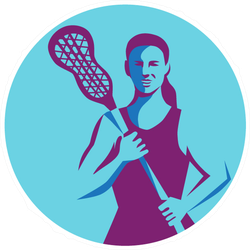 Illustration Of A Female Lacrosse Player Sticker