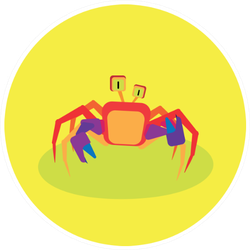 Illustration Of A Funny Crab On Bright Yellow Sticker