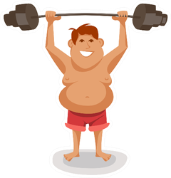 Illustration Of A funny Man Lifting A Weight Sticker