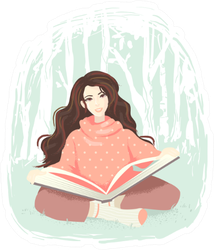 Illustration Of A Girl Reading A Big Book In The Woods Sticker